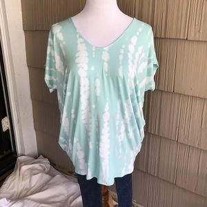 NWT Enti Clothing Lt Aqua tiedye blouse
